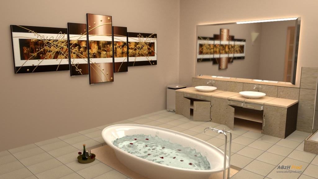 Animation d'une salle de bain et spa en 3D réalisée avec le logiciel Blender