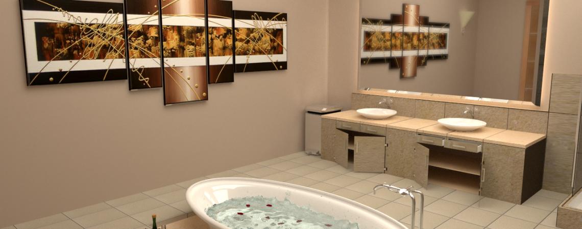 Modélisation et animation d'une salle de bain moderne design et spa en 3D - Architecture et Immobilier - ABzH Prod - Rendu 3D photoréaliste - Infographiste 3D Freelance
