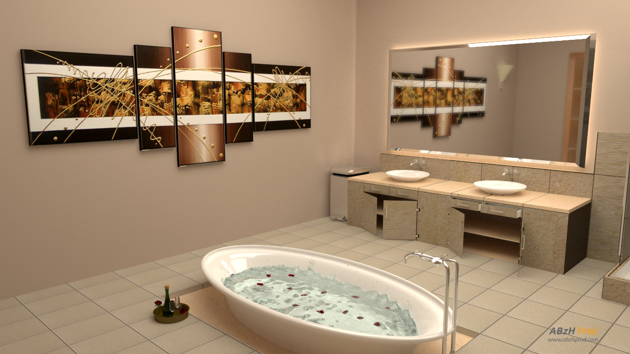 Mod lisation et animation 3d d 39 une grande salle de bain for Grande salle de bain