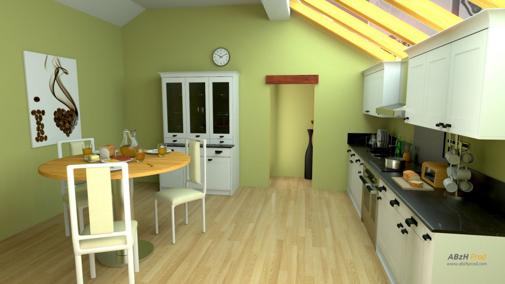 Animation d'une cuisine en 3D réalisée avec le logiciel Blender