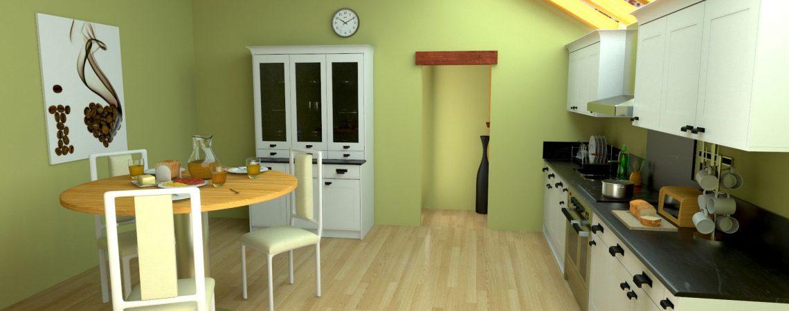 Modélisation et animation d'une cuisine moderne design en 3D - Architecture et Immobilier - ABzH Prod - Image 3D photoréaliste - Infographiste 3D Freelance