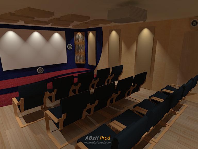 Cinéma privé GranPlaya - Blender - SketchUp - Kerkythea - ABzH Prod - Animation 3D photoréaliste - Infographiste 3D Freelance