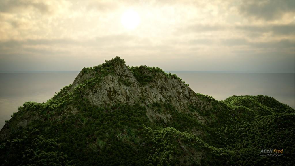 Animation d'une île et végétation luxuriante en 3D réalisée avec le logiciel Blender