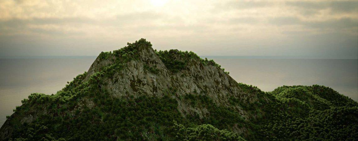 Animation d'une île et végétation luxuriante en 3D réalisée avec le logiciel Blender - Animation 3D photoréaliste - Infographiste 3D Freelance