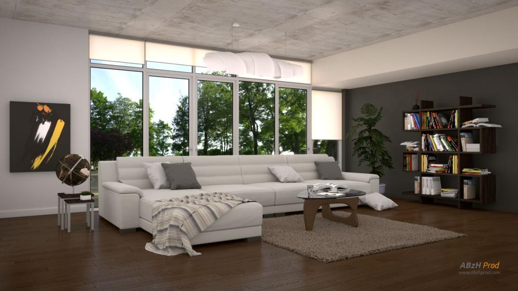 Animation d'un salon lounge moderne et design en 3D réalisée avec le logiciel Blender