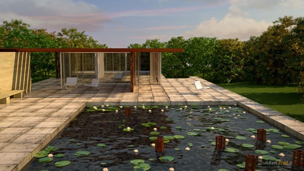 Animation d'un pool house zen en 3D réalisée avec le logiciel Blender