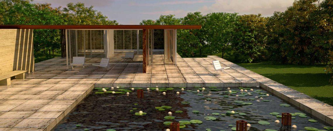 Modélisation et animation d'un pool house zen en 3D - Architecture et Immobilier - ABzH Prod - Animation 3D photoréaliste