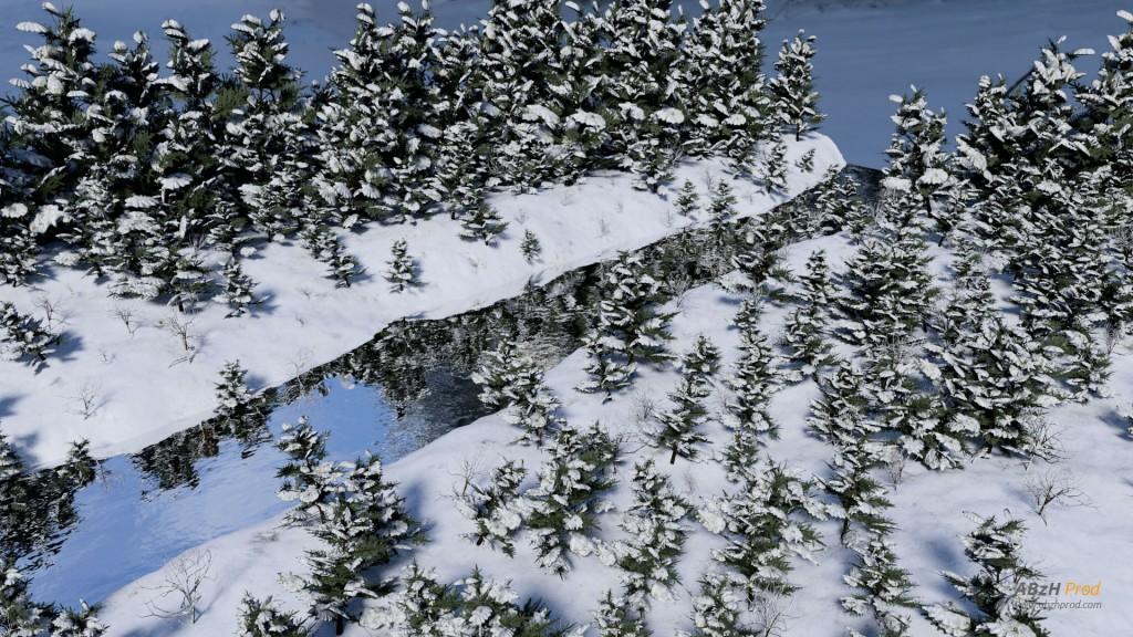 Animation d'une rivière en hiver en 3D réalisée avec le logiciel Blender