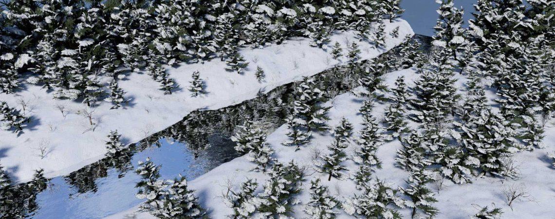 Animation d'une rivière en hiver en 3D réalisée avec le logiciel Blender - ABzH Prod - Animation 3D photoréaliste - Infographiste 3D Freelance