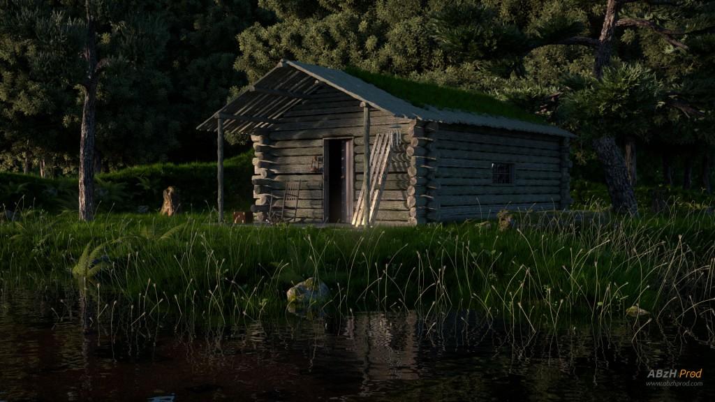 Modélisation et animation d'une cabane en forêt - ABzH Prod - Animation 3D photoréaliste - Infographiste 3D Freelance