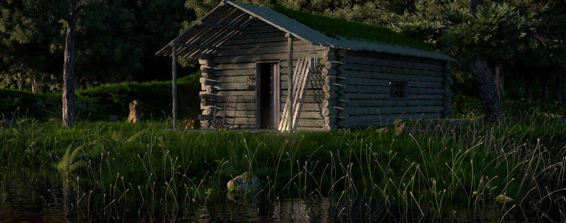 Modélisation et animation 3D d'une cabane en forêt - Architecture Immobilier et nature - ABzH Prod - Animation 3D photoréaliste - Infographiste 3D Freelance