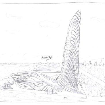 Modélisation 3D Wavy Hôtel - Draft Organique- Architecture Immobilier et nature - ABzH Prod - Animation 3D photoréaliste