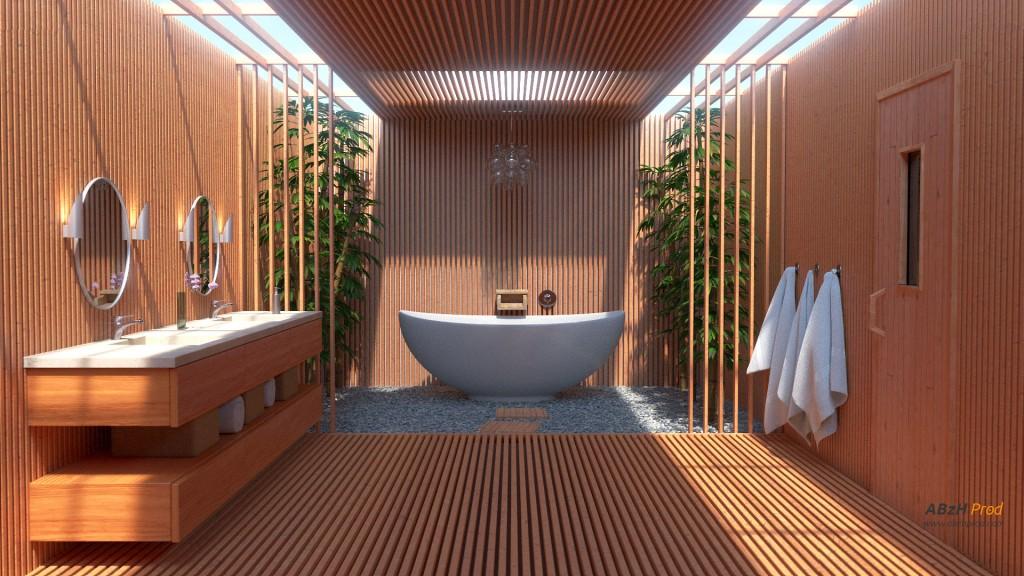 Modélisation et animation d'une salle de bain zen moderne - ABzH Prod - Animation 3D photoréaliste - Infographiste 3D Freelance