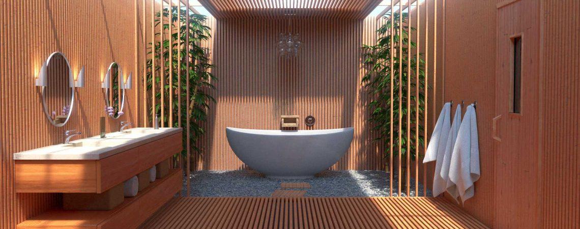 Modélisation et animation d'une salle de bain zen moderne - Architecture et Immobilier - ABzH Prod - 3D photo-réaliste - Infographiste 3D Freelance