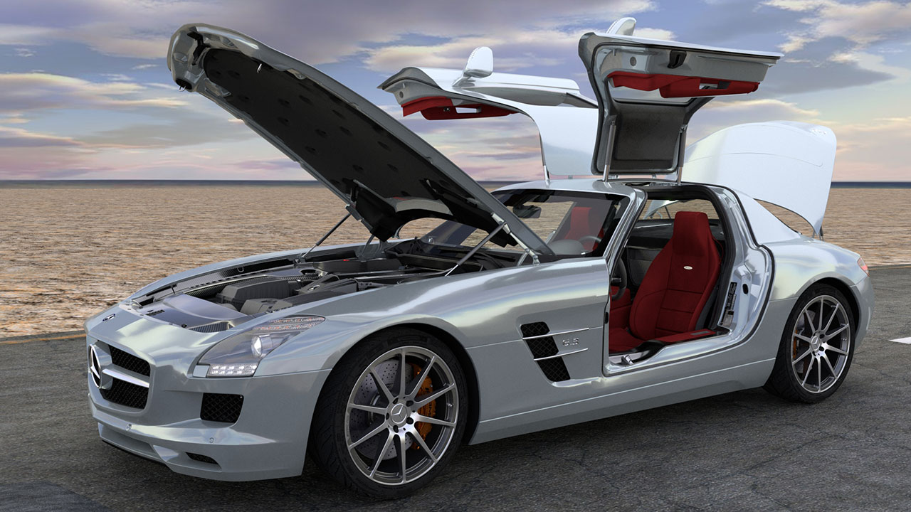 Modélisation et animation d'une voiture 3D Mercedes SLS AMG - Rigging et Drifting - Full Open 01 - Blender Cycles - Car and vehicle - Animation 3D photoréaliste - Infographiste 3D Freelance
