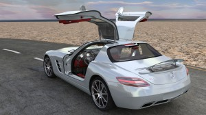 Modélisation et animation d'une voiture 3D Mercedes SLS AMG HD - Rigging et Drifting - Doors Open 02 - Blender Cycles - Car and vehicle - Animation 3D photoréaliste - Infographiste 3D Freelance
