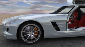 Modélisation et animation d'une voiture 3D Mercedes SLS AMG HD - Rigging et Drifting - Doors Open 03 - Blender Cycles - Car and vehicle - Animation 3D photoréaliste - Infographiste 3D Freelance
