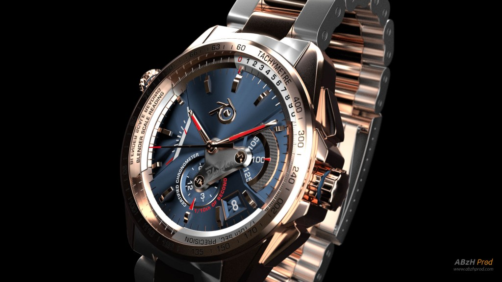 Modélisation et animation d'un chronographe montre bracelet luxe 3D Blender - Blender Cycles - Luxury watch - Animation 3D photoréaliste - Infographiste 3D Freelance