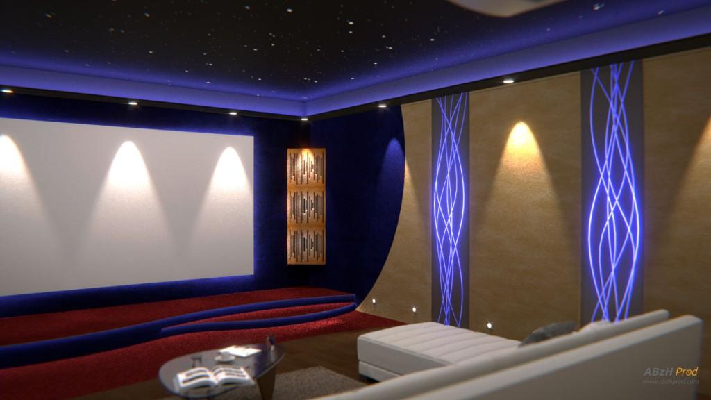 Modélisation et animation Cinéma Privé Gran Playa 3D Blender - Blender Cycles - Private Cinema - Animation 3D photoréaliste - Infographiste 3D Freelance