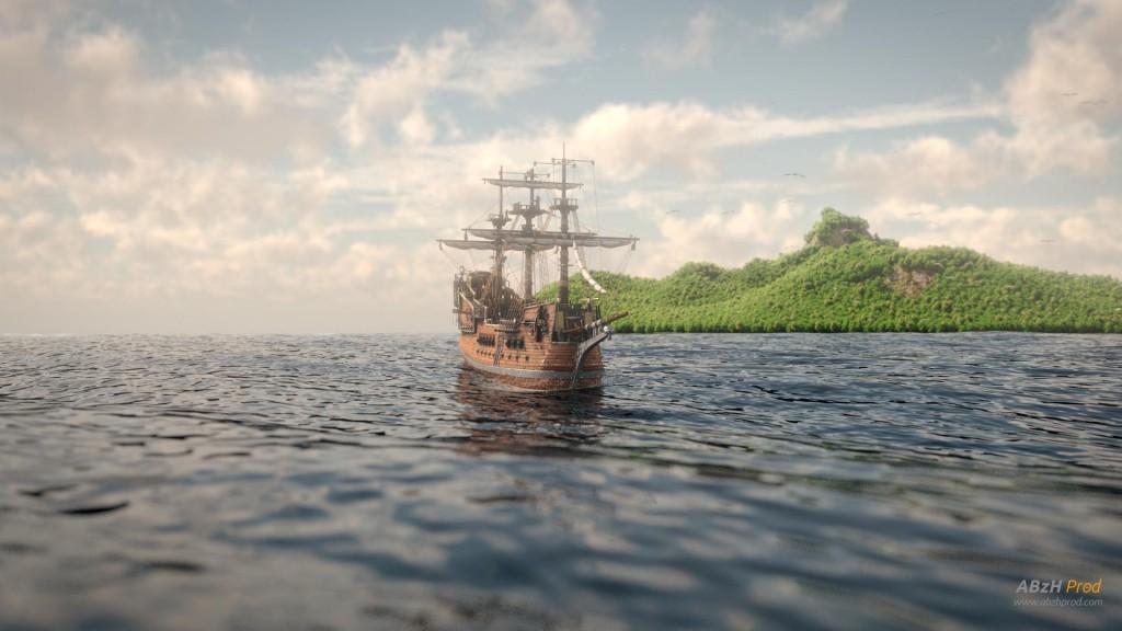 Modélisation et animation d'un bateau et océan 3D Blender - Blender Cycles - Ship on Ocean - Animation 3D photoréaliste - Infographiste 3D Freelance