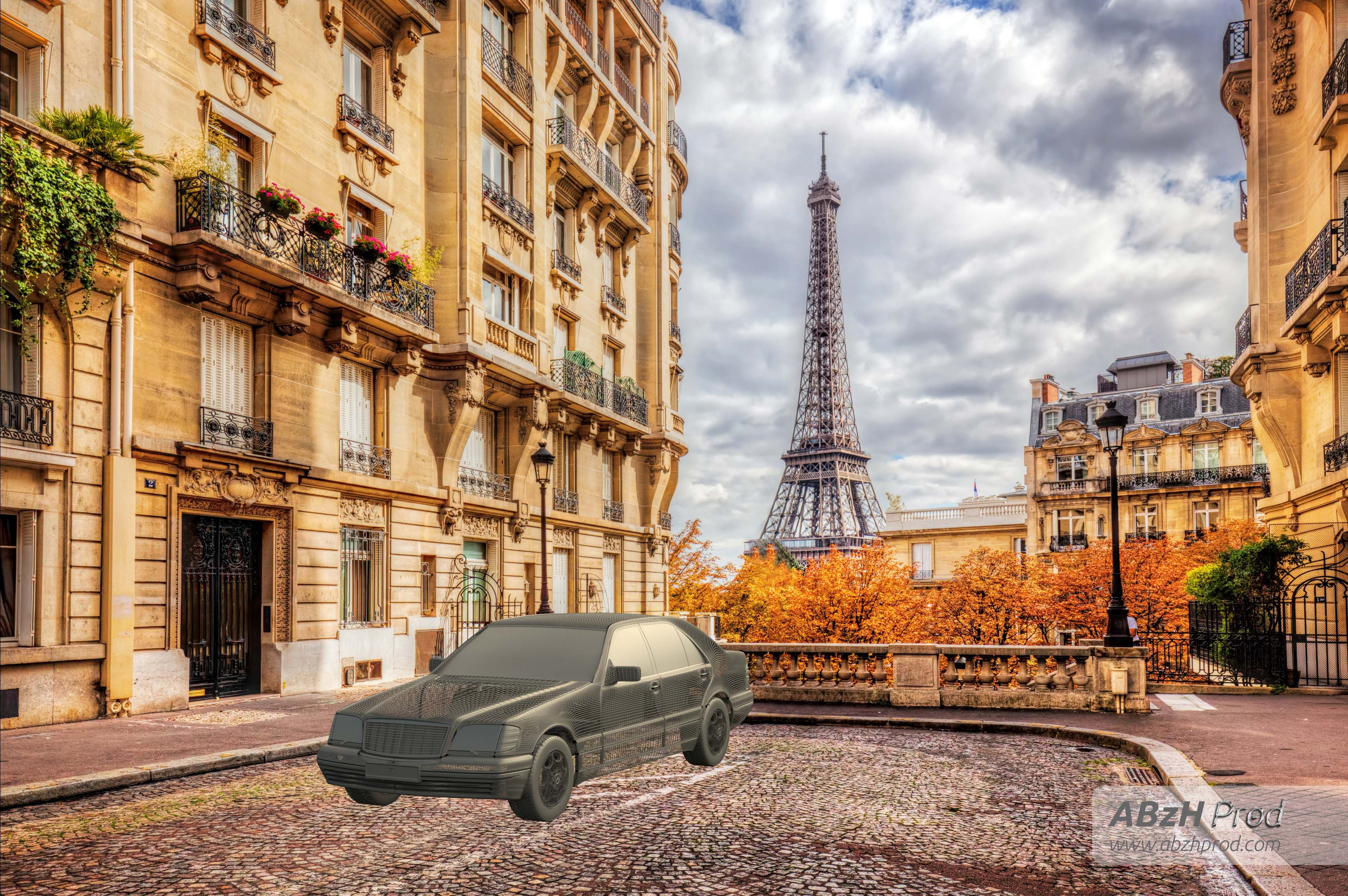 Mercedes S280 M6 Diana Paris Breakdown Tutorial étape 1 - Animation vidéo 3D photoréaliste - Infographiste 3D Freelance - ABzHProd